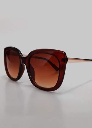 Óculos de sol feminino quadrado - marrom proteção uv 400