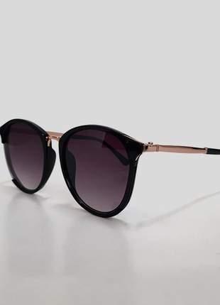 Óculos de sol feminino armação fina preta - proteção uv 400