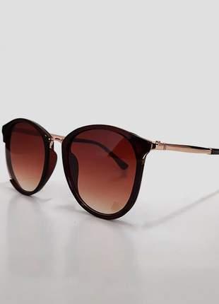 Óculos de sol feminino armação fina marrom - proteção uv 400
