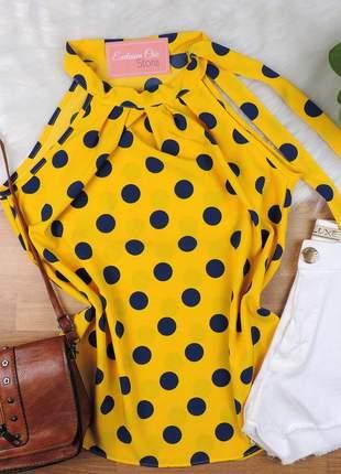 Regata poá amarração gola amarela bs386