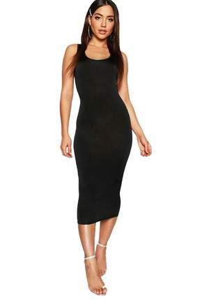 Vestido midi tubinho feminino regata moda blogueira