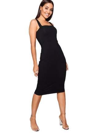 Vestido feminino midi tubinho alcinha moda blogueira