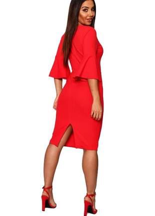 Vestido feminino midi manga flare fenda atrás moda festa noite