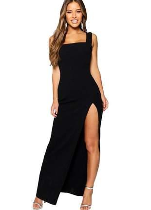 Vestido longo com fenda fenda alça moda blogueira