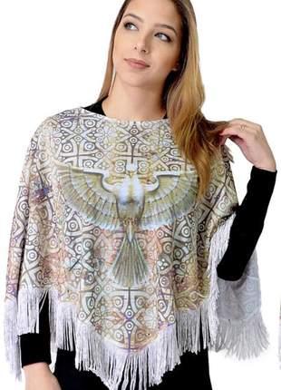 Poncho bordado com pedras - espírito santo