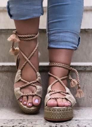 Sandália flatform juta