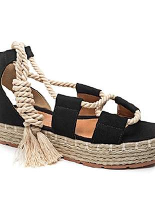 Sandália flatform preta