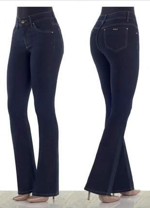 Calça jeans feminina flare cintura alta - marca dbz jeans mármore