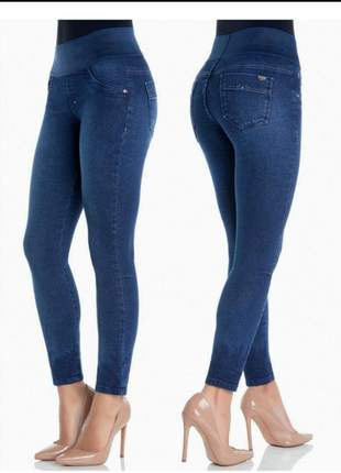 Calça jeans feminina skinny justa cintura alta com lycra