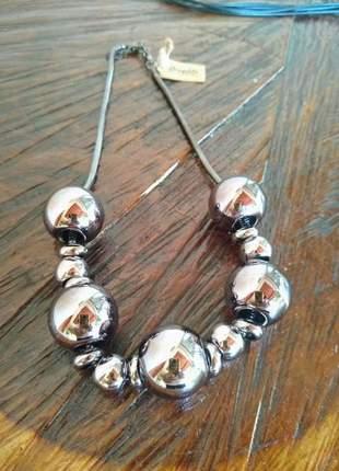 Maxi colar feminino bolas prata envelhecida