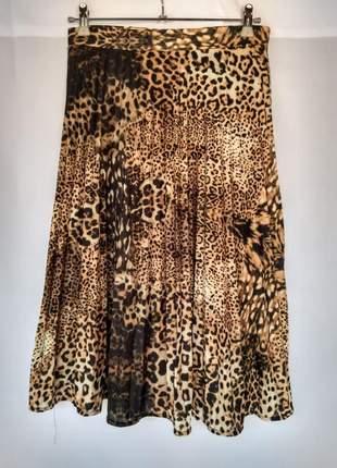 Saia plissada plissê midi moda evangélica feminina animal print