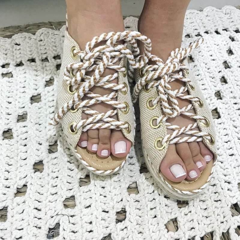 Sandália juta cadarço