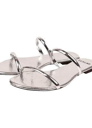 Rasteira feminina prata metal ref:lx001-12