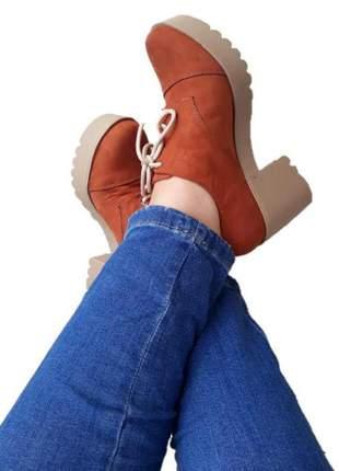 Sapato oxford feminino tratorado salto grosso alto telha