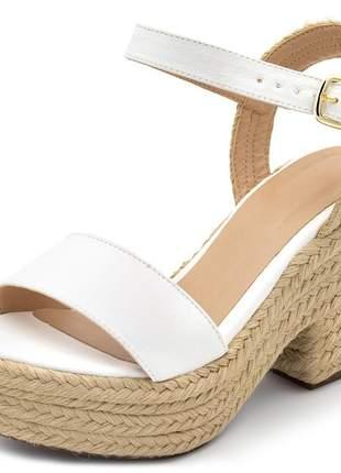 Sandália salto alto em napa branca com sisal
