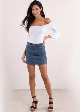 Body ombro a ombro manga 3/4 flare moda feminina casual
