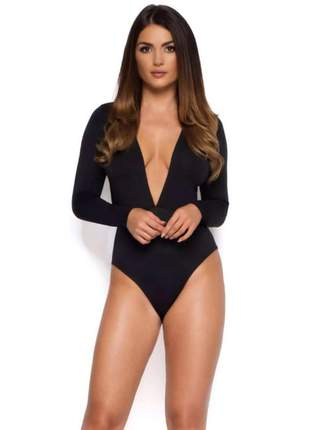 Body feminino decotado manga longa