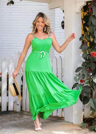 Vestido longo verde em viscolycra saia estilo três marias com cordão incluso.