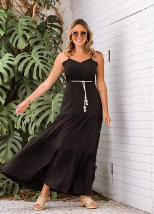 Vestido longo preto em viscolycra saia estilo três marias com cordão incluso.