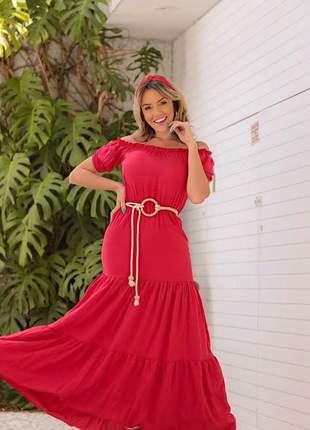 Vestido longo vermelho em viscolycra saia estilo três marias com cordão incluso.