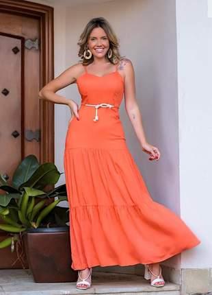 Vestido longo laranja em viscolycra saia estilo três marias com cordão incluso.