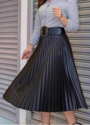 Saia plissada midi feminina cintura alta
