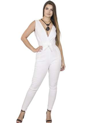 Macacão dress code moda justo branco