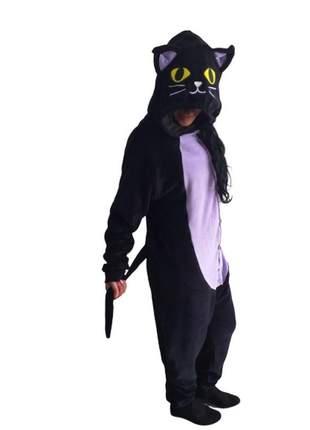 Pijama feminino gato preto macacão fantasia kigurumi adulto