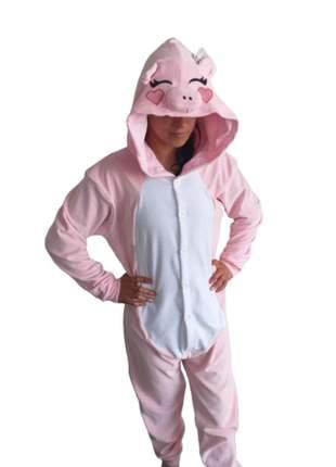 Pijama feminino porquinha pig macacão fantasia kigurumi adulto