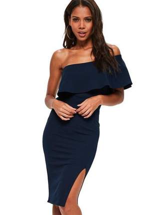 Vestido curto feminino um ombro só babado com fenda luxo tendência