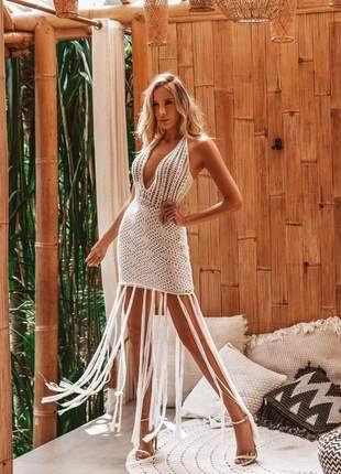 Vestido de crochê e franjas maravilhoso - branco