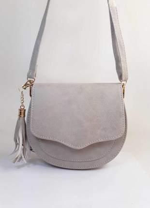 Bolsa bag michele cinza - bolsa feminina pequena, tiracolo, de couro ecológico