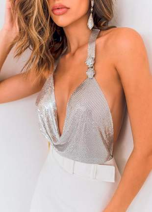 Blusa frente única de metal prata, super sexy!
