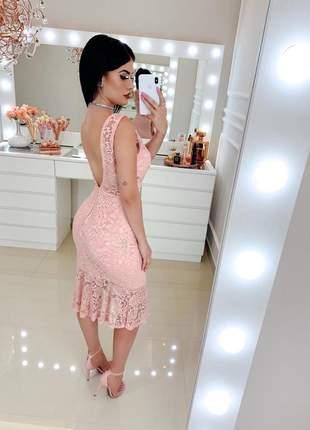 Vestido rose midi renda