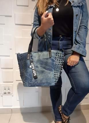 Bolsa jeans feminina grande