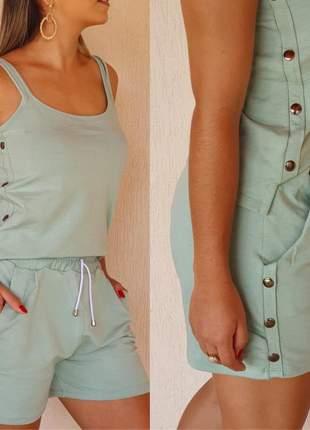 Conjunto moletinho shorts e blusinha com apliques metal tend verão 2020