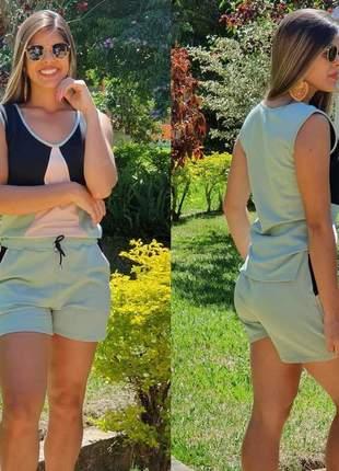 Conjunto shorts e blusinha em moletinho color block tendencia verão 2020