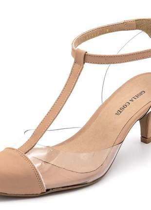 Sapato scarpin aberto em napa nude com transparência