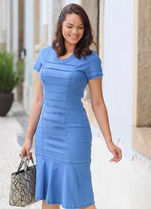 Vestido feminino jeans justo peplum moda evangélica