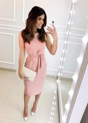 Vestido midi luxo rosê