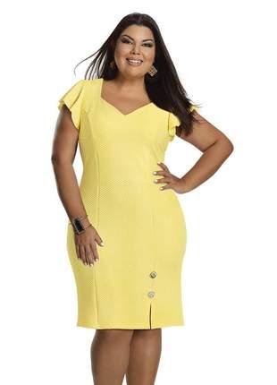 Vestido tubinho plus size amarelo