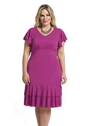 Vestido plus size rosa babados