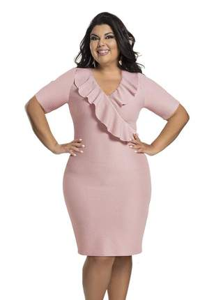 Vestido plus size rosê