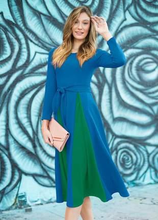 Vestido midi color block