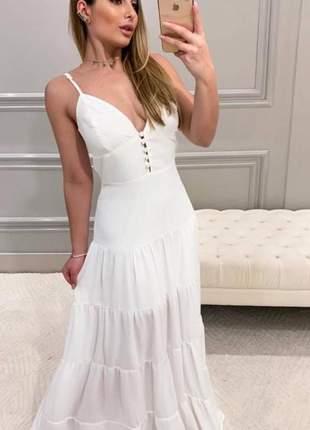 Vestido longo com botões e babado branco