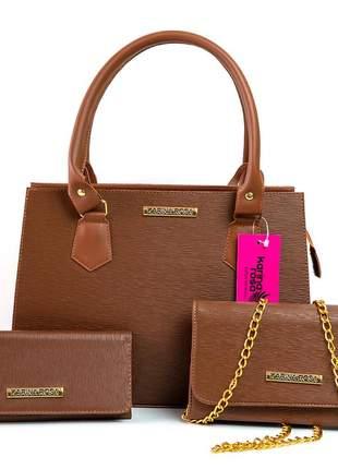 Kit 2 bolsas + carteira karina rosa