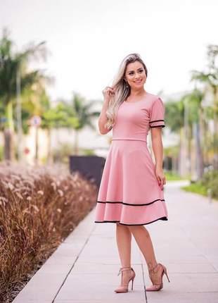 Vestido midi godê princesa executivo lindo barato promoção