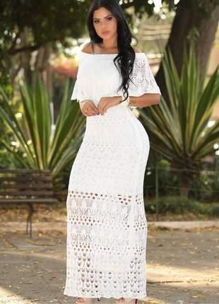 Vestido longo branco tricô ciganinha ombro a ombro verão