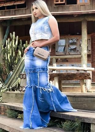 Saia longa jeans sereia
