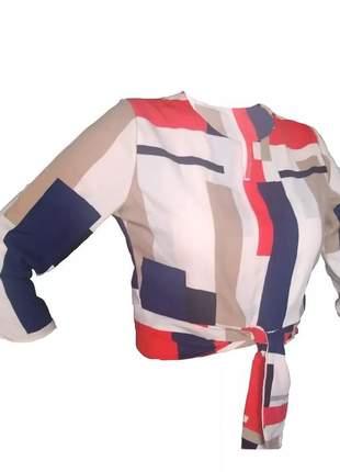 Kit 3 blusas em crepe cropped com laço moda evangélica